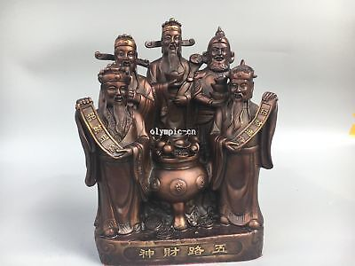 Classica Bronze Home Fengshui chinese folk Five man Mammon God  god of wealth