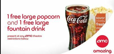 One AMC Theatres LARGE Popcorn and LARGE Drink; expires 9/30/2018