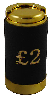 £2 Coin Holder Gadget Holds Up to 15 Coins Gold & Black Leather