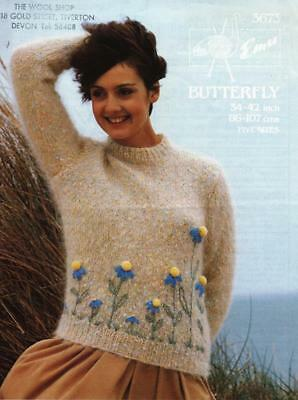 "EM3673 LADIES MOHAIR EMBROIDERED FLORAL SWEATER KNITTING PATTERN 34-42""/86-107cm"