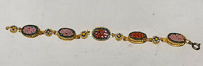 Antique Vintage Micro Mosaic Floral Bracelet Gilt Italian Italy Jewelry