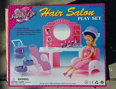Fancy Life DOLLHOUSE FURNITURE Size Beauty Hair Salon PLAY SET For Barbie NEW
