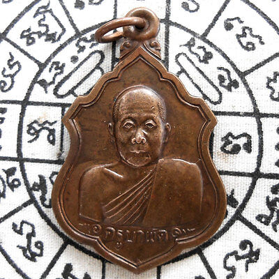 Thai Amulet Pendant  Buddha LP. Phra Khru Ba Phat Magic Talisman Wealth Success