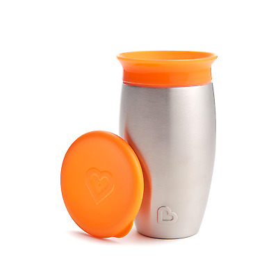 Munchkin Miracle Stainless Steel 360 Sippy Cup, Orange, 10 Ounce