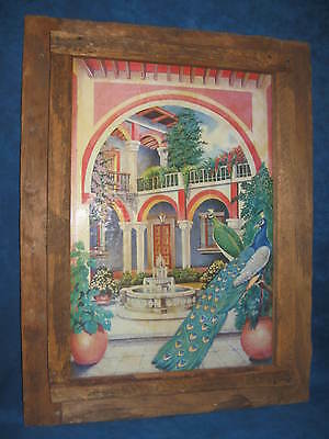 OLD MEXICAN FOLK ART PRINT Peacocks in Courtyard-RUSTIC WOOD FRAME-Lovely/Unique