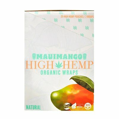 High Hemp Organic Wraps 25 (2 Wrap) Pouches 50 Wraps Mauimango (a936)