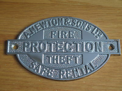 Genuine Safe name Plate (A.Newton & Sons Ltd Fire Protection Theft Safe Rental)