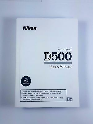 Nikon D500 Instruction Owners Manual Book Brand NEW (English) 400 Pages