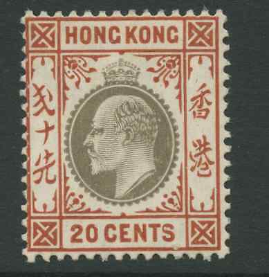 Hong Kong SG83a 1906 20c slate and chestnut CSP Mounted Mint