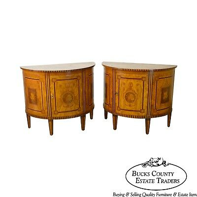 Quality Pair of Satin Wood Marquetry Inlaid Demilune Commode Cabinets