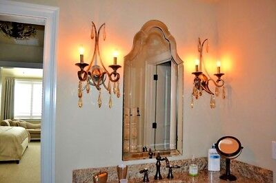 Uttermost Wet/dry Forged Iron Rubbed Oil Scroll Amber Crystal Wall Sconce Light
