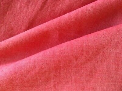 Vintage Red Chambray Dress Fabric Lightweight Heathered Material