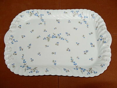 """MARX GUTHERZ Carlsbad Austria #2435, Large 18.5"""" Sandwich Tray, Forget-Me-Nots"""