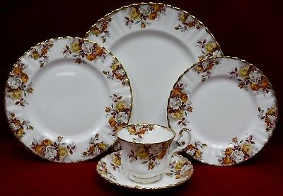 ROYAL ALBERT china LENORA pattern 5 piece Place Setting cup/dinner/salad/dessert