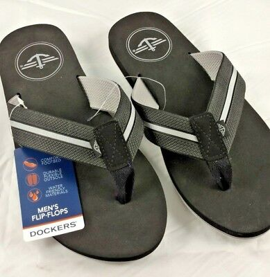 f9ed00c9ef83 Dockers Mens Black Flip Flops Sandals Size Large 9.5-10.5 New With Tags  beach