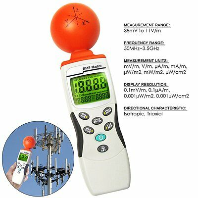 EMF/RF (3-axis Gauss Meter) Field Strength Meter 50MHz to 3.50GHz MADE IN TAIWAN
