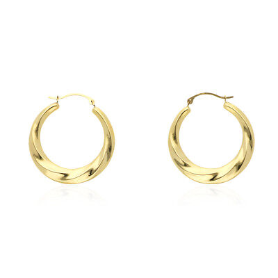 14k Yellow Gold High Polished Twisted Creole Style Hoop Earrings 1""