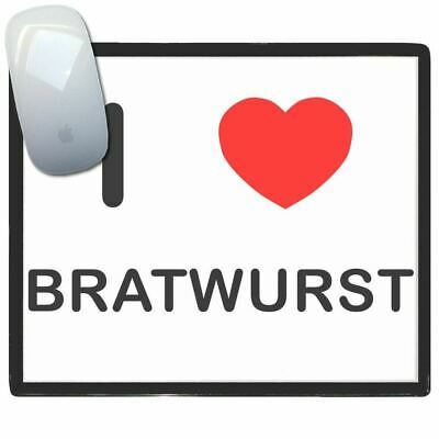 I Love Heart Bratwurst - Thin Pictoral Plastic Mouse Pad Mat BadgeBeast