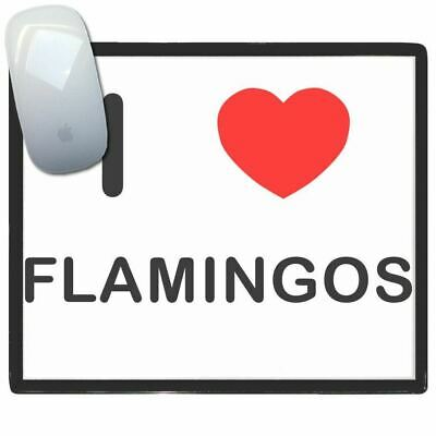 I Love Heart Flamingos - Thin Pictoral Plastic Mouse Pad Mat BadgeBeast
