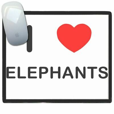 I Love Heart Elephants - Thin Pictoral Plastic Mouse Pad Mat BadgeBeast
