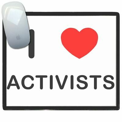 I Love Heart Activists - Thin Pictoral Plastic Mouse Pad Mat BadgeBeast