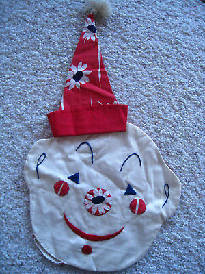 Vintage Cotton Pillow case/Cover Embroidery Clown With Hat Unusual SWEET