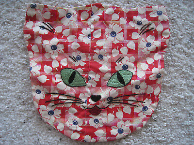 Vintage Cotton Pillow case/Cover Embroidery CAT Unusual SWEET