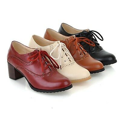 ba2c510bf US4-11 Brogue Women Lace Up Retro Mid Chunky Heels Oxford Wing Tip leisure  Shoes