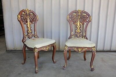 French Gilt Back Parlour Chairs Embroidered Seats Carved Vintage Antique Ornate
