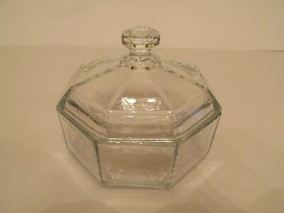Lovely Cristal D'Arques Arcoroc France Octime Clear Glass Octagon Covered Sugar