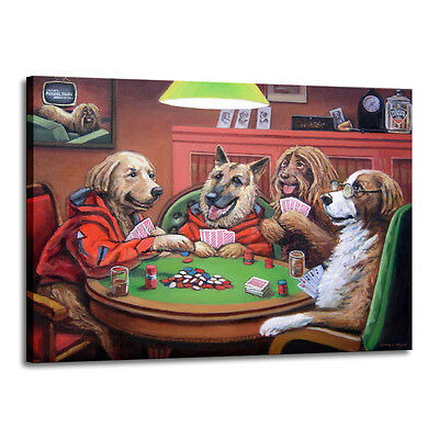 Home Decor Art Quality Canvas Print, Dogs Playing Poker Light 18x24