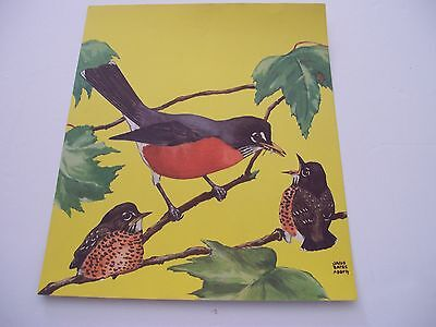 """Vintage 1930's/40's Lithograph """"Mother Robin Feeding her Babies"""" by Jacob Bates"""
