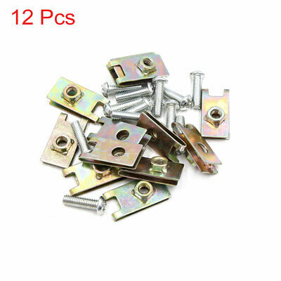 12PCS 6mm Thread Dia Metal Car License Plate Fairing Fastener Clips Kit w Screw