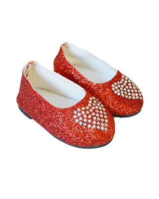 "Doll Clothes 18"" Shoes Red Heart Sparkle Fits American Girl Dolls"