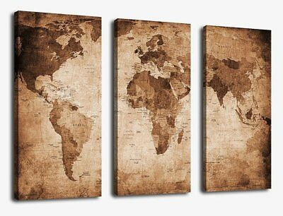 CANVAS WALL ART Prints Vintage World Map Painting Ready to Hang - 3 ...