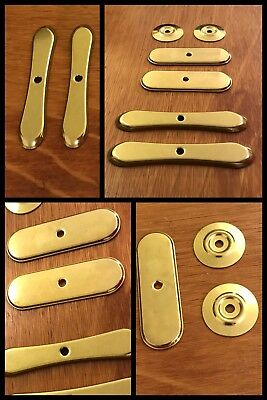 6 BACK PLATES for Knobs Round Oval Brass Tone Cabinet Drawer AMEROCK Vintage