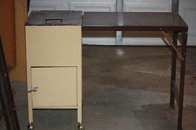 RARE Vtg. METAL FILE CABINET DESK w/storage area, on casters with detachable top