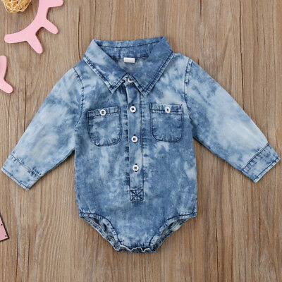 AU Infant Newborn Baby Boy Girl Denim Bodysuit Romper Jumpsuit Clothes Outfits
