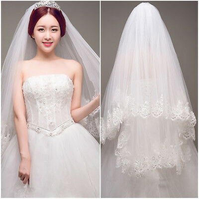 White/Ivory 2 Layer Lace Elbow Length Sequin Wedding Bridal Veil With Comb UK