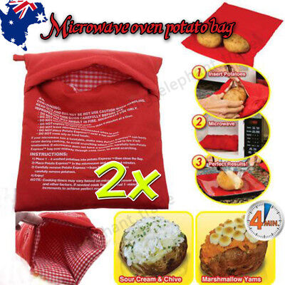 2x Microwave Baked Potato Express Corn Cooking Bag Reusable Washable Cooker AU