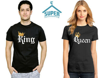 47596505 King Queen TSHIRTS COLOR Gold Crown White Font Best Matching Love Couple