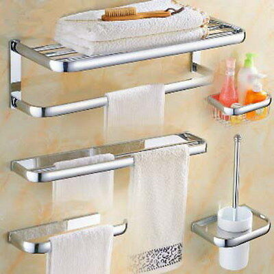 Chrome Modern Bath Accessories Towel Bar Ring Toilet Bathroom Hardware Set xz002