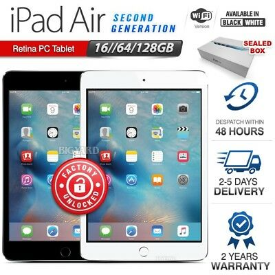 APPLE iPad Air 2nd Gen Black White 16 64 128GB Retina PC Tablet (WiFi Only)