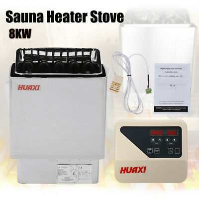 8KW Sauna Heater Stove Wet & Dry Stainless Steel for SPA + External Protector