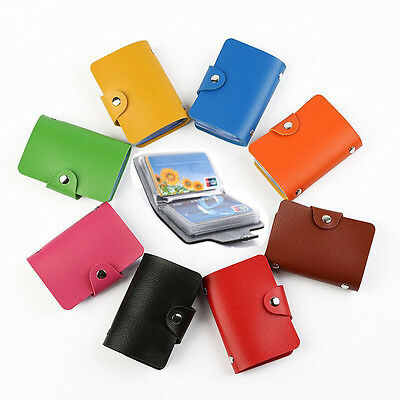 Slim PU Leather Business ID Credit Card Holder Pocket Case Purse Wallet 24 Cards