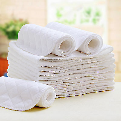 5x Good Reusable Pure Cotton Baby Cloth Diaper Nappy Liners Insert 6 Layers HR