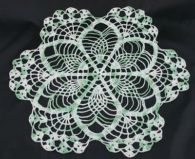 """Antique Vintage Doily Green and White Crochet Doily 15"""""""