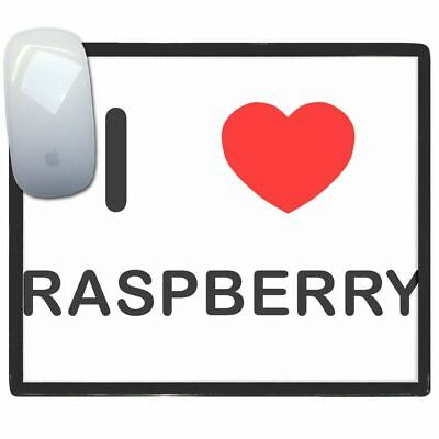 I Love Heart Raspberry - Thin Pictoral Plastic Mouse Pad Mat BadgeBeast