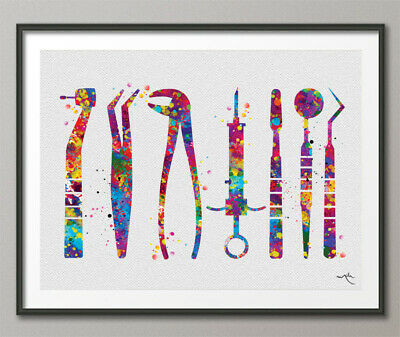 Dentist Tools Watercolor Print Tooth Medical Art Surgeon Dental Clinic Decor Art