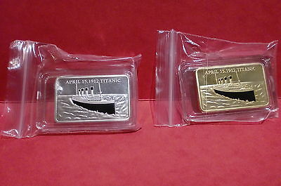 in memory of Titanic 100  years 24 KT GOLD PLATED & .999 silver plated coin bar